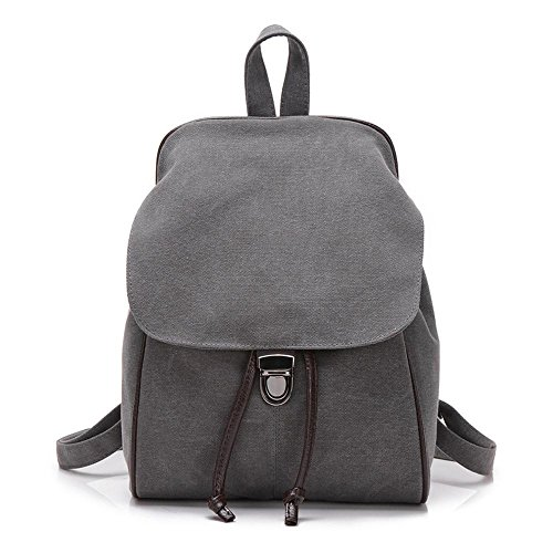 Aoligei Mode Simple Pure couleur toile femmes sac double sac rétro sac à dos étudiants Voyage sac à dos D