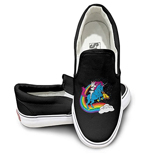 Womens Canvas Shoes Cat Riding Unicorn Special Canvas Slip on Shoes for Men Custom Wrestling Shoes by PingShoes