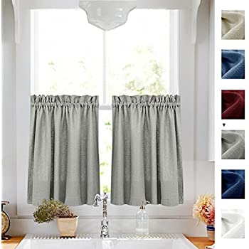 Kitchen Curtains 36 Inch Length Privacy Semi Sheer Half Window Curtains  Textured Tiers Thick Sheer Café Curtains For Bathroom Grey, 2 Panels