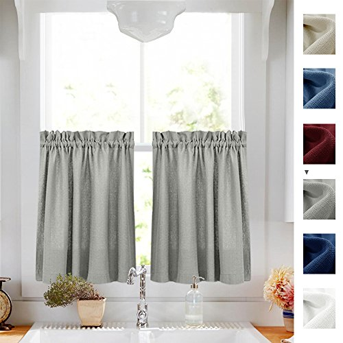 Semi Sheer Textured Cafe Curtain Set Privacy Casual Weave Kitchen Tiers for Small Window Curtains (72-inch x 24-inch, Grey, Set of 2) (Kitchen Window Sets Curtain)