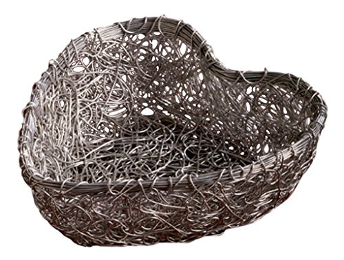 Wire Mesh Catchall Basket Desktop Organizer for Home or Office, Silver Heart Shaped, 11 Inch