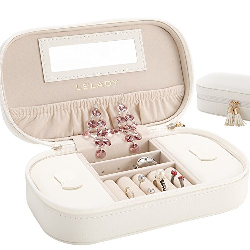 JL LELADY JEWELRY Small Jewelry Box Organizer Travel Jewelry Case Portable Faux Leather Jewelry Boxes Storage Case with Mirror for Women Girls, Gift Box Packing (White) by JL LELADY JEWELRY