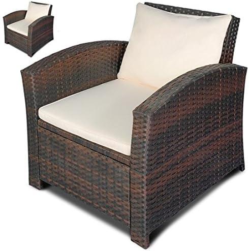 Set de 2 sillones individuales de poli-ratán, color a elegir, estilo lounge, para jardín o balcón, marrón: Amazon.es: Jardín