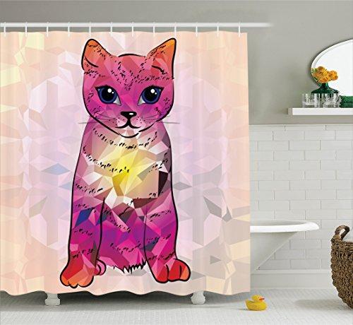 Ambesonne Cat Lover Decor Shower Curtain Set, Geometrc Digital Color Artistic Robot Cat With Technologic Patterns Little Retro Art, Bathroom Accessories, 69W X 70L Inches, Pink Fuscia