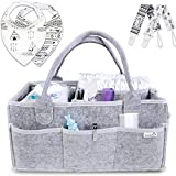 Putska Baby Diaper Caddy Organizer: Portable Holder Bag for Changing Table and Car, Nursery Essentials Storage bins gifts with 2 Pacifier Clips, 2 Bibs Image