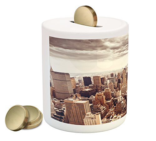 Cities Of States Piggy Bank By Lunarable  American Metropolitan City Landscape Nyc Manhattan Aerial Photography  Printed Ceramic Coin Bank Money Box For Cash Saving  Multicolor