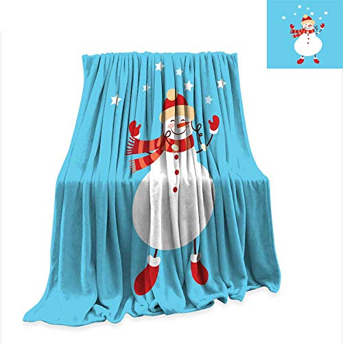 (familytaste Warm Blanket Funny Cartoon Snowman Vector Illustration with Snowman in top hat2 Throws for Couch Bed Living Room W70 x L50 inch)