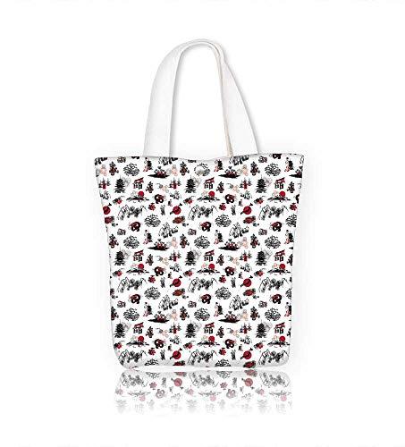 (Ladies canvas tote bag seamless with thumbnail symbolizing the Japanese New Year reusable shopping bag zipper handbag Print Design W23xH14xD7 INCH)