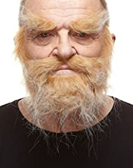 These real size self-adhesive beard with mustache and eyebrows are handmade. They are attached by means of a specific 3M medical plaster (on the back side of beard with mustache and eyebrows). This anti-allergic plaster does not irritate the ...