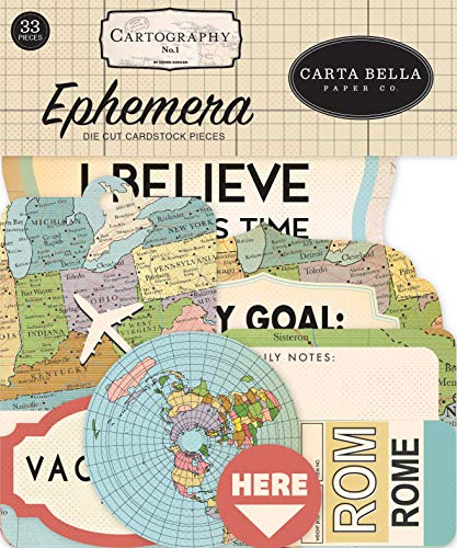 Carta Bella Paper Company CBCA97024 Cartography No. 1 Ephemera, red, Blue, tan, Sepia, Yellow