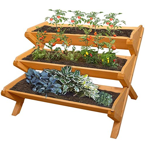 Yardeen 3 Tier Cascading Raised Bed Garden Planter Stand Vertical Vegetable Patio Deck Balcony Flower Herb Plant Box, Nature Cedar Wood