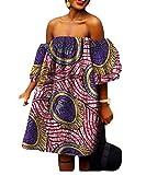 SportsX Women's African Print Shoulder Off Batik Big Pendulum Stylish Gowns 2 6XL