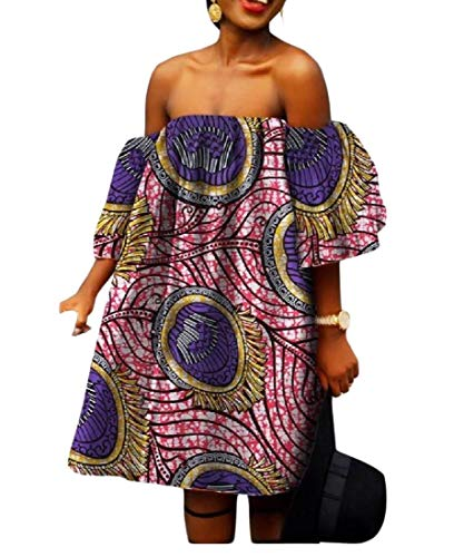 SportsX Women's African Print Shoulder Off Batik Big Pendulum Stylish Gowns 2 6XL by SportsX