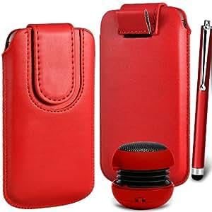 N4U Online Premium cuero de la PU del caso del tirón Tirar Tab cubierta de bolsa Con magnética Cierre de correa, Stylus Pen & Mini altavoz portable para Sony Xperia J - Rojo