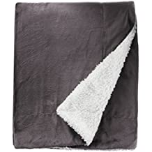 Northpoint Cashmere Velvet Reverse to Cloud Sherpa Throw, Charcoal