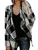 UUYUK-Women Plaid Long Sleeve Lapel Open Front Cardigan Short Trench Coat One US M