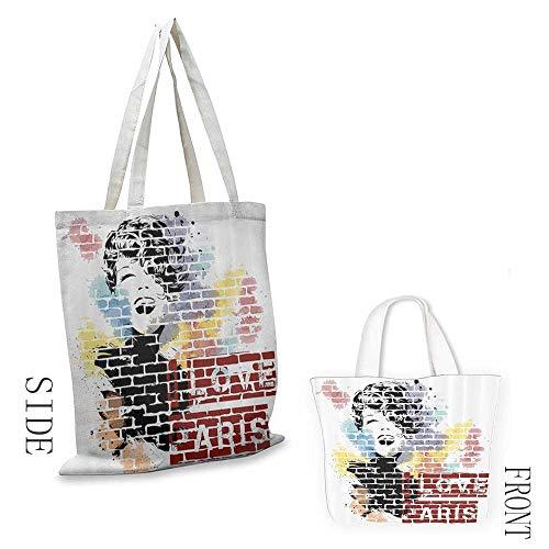 Handbag or crossbody messenger bag Fashion House Decor Love Paris and Woman Figure on Wall Street Art Elegance Cool Artwork Washable tote 16.5