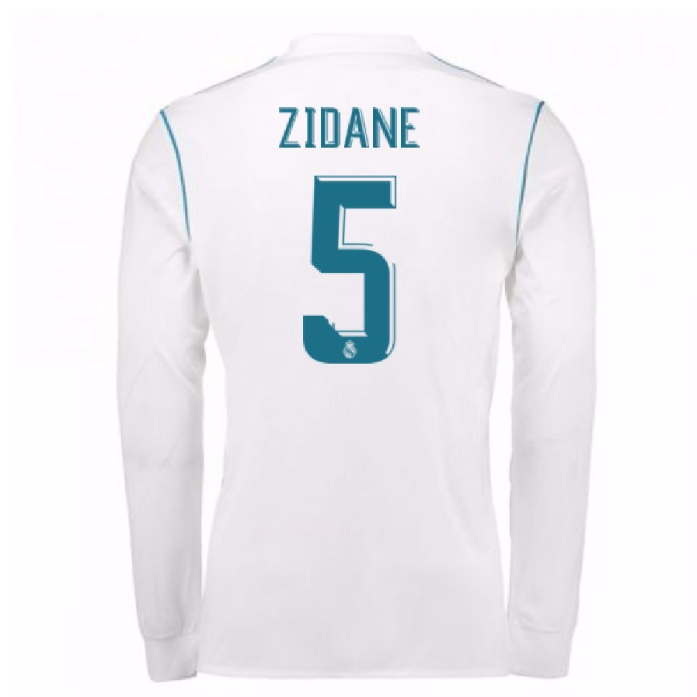 2017-18 Real Madrid Long Sleeve Home Shirt Kids (Zidane 5) B077YM48N2White Medium Boys 28-30\