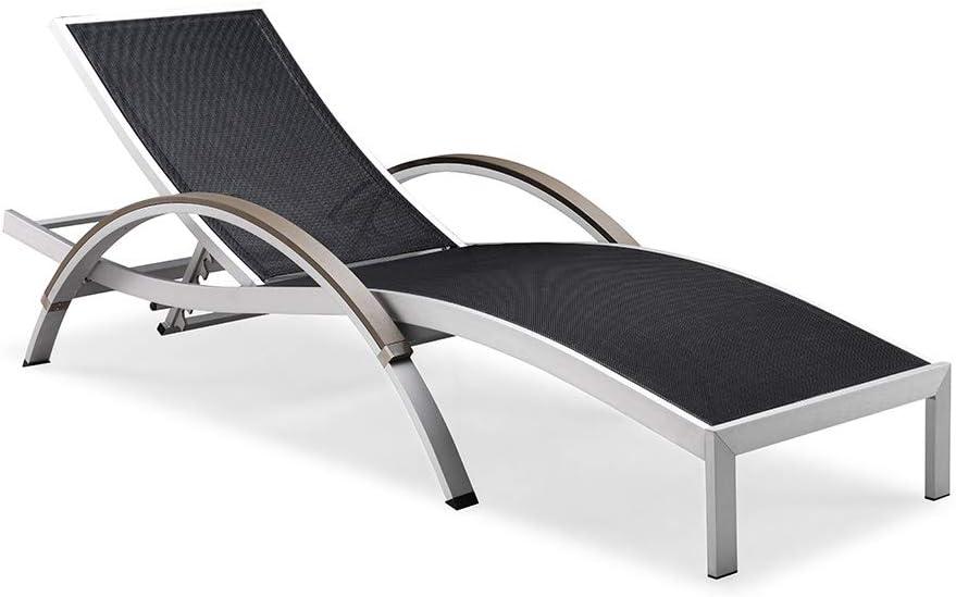 GHZ Wave reclinable de Aluminio Cepillado Sol Tumbona de Playa al Aire Libre de la Cama reclinable con reposabrazos size201 * 76 * 45cm