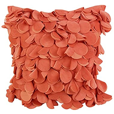 Puredown Plush Decorative Pillow Covers Hand Made Pillowcase Patels Square 18X18 inch Orange