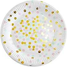 """Value Pack- 24 Cupcake Toppers Picks- Various Themes (9 inch Party paper plate with Gold Foil- 10 PCS- """"Stars & Sparkles Theme"""")"""
