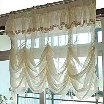 YOUSA Creamy White Balloon Curtains Sheer Curtain Lace Ruffle Tie Up Roman  Curtain Valance 110u0027u0027W X 63u0027u0027L