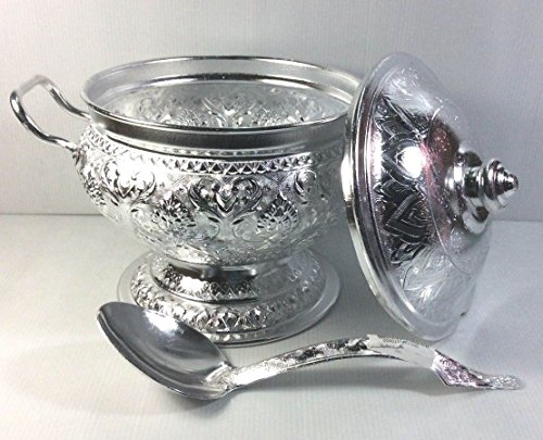 VINTAGE RICE SERVING BOWL MONG CURRY PASTA SOUP ALUMINIUM HOT POT PAN Ladle with - Tulsa Mall