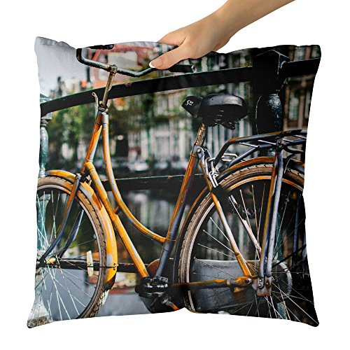 (Westlake Art - Bike Fence - Decorative Throw Pillow Cushion - Picture Photography Artwork Home Decor Living Room - 26x26 Inch)