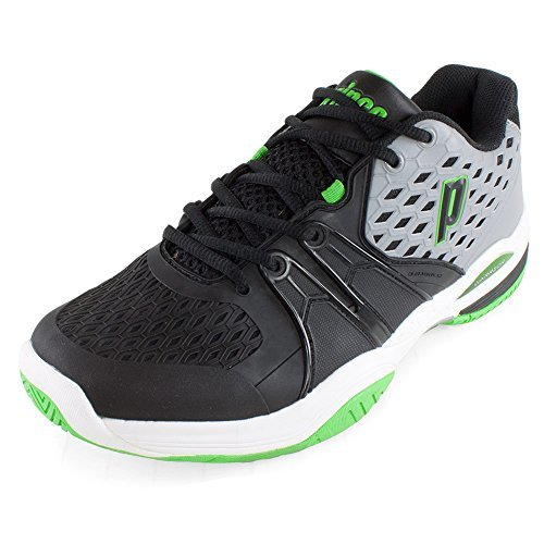 Prince Men's Warrior Tennis Shoes (Grey/Black/Green) (10.5 D(M) US)