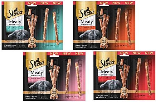 Real Meat Jerky Treats Cat Treats - Sheba Meaty Tender Sticks - Cat Treats (Variety, Pack of 8)