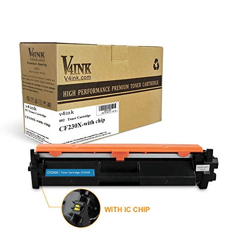 With IC Chip V4INK Compatible Replacement for HP 30X CF230X Toner Cartridge for use in HP LaserJet Pro MFP M227fdw m277fdn, HP LaserJet Pro M203dw m203dn, 1 Pack
