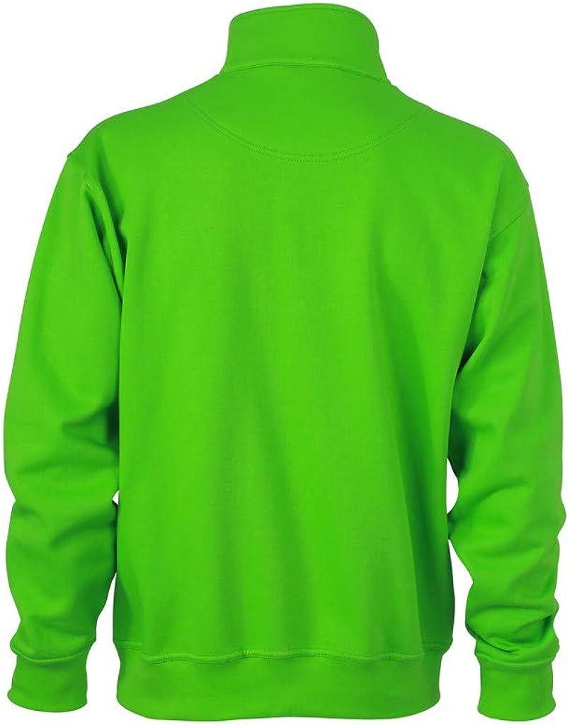 James+Nicholson Herren Sweatshirt Half Zip Sweater Blau Navy S Limonengrün