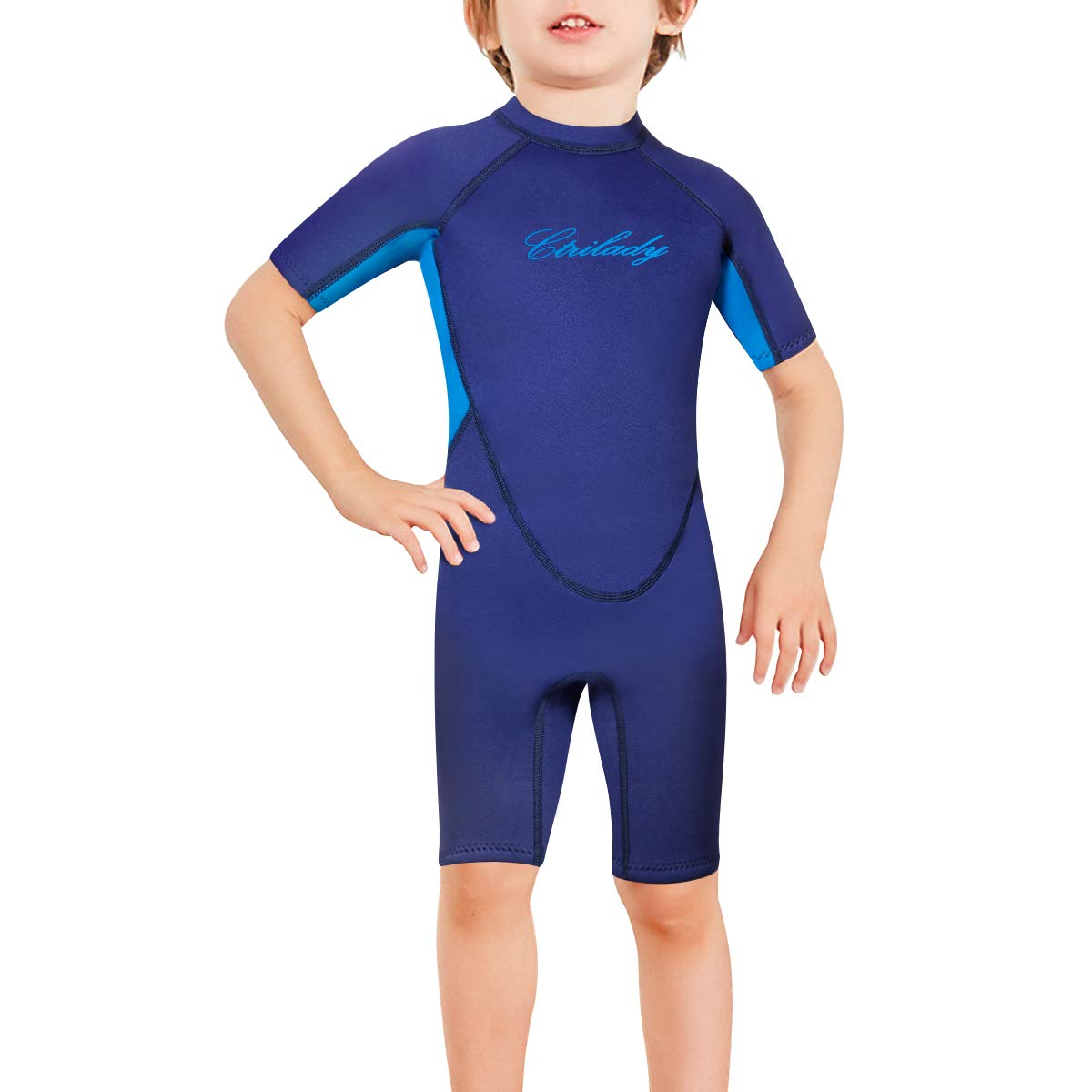 CtriLady Kids Youth Neoprene Wetsuit Keep Warm Swimsuit for Swimming Surfing Snorkeling Diving Water Sports(Blue,3XL) by CtriLady