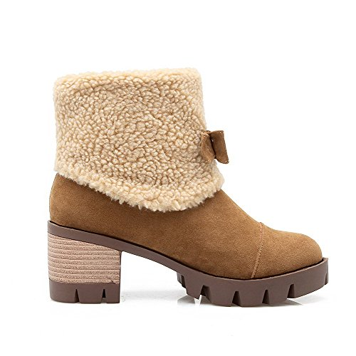 AgooLar Women's Pull-On Kitten-Heels Imitated Suede Solid Low-Top Boots Brown XMg2mRA