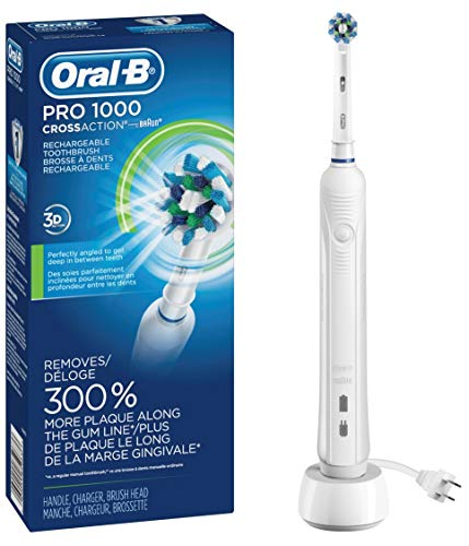 - Oral-B White Pro 1000 Power Rechargeable Electric Toothbrush, Powered by Braun