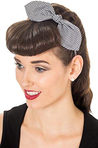Banned Riley Vintage Retro Headband - 3 Colours - Black/White/One Size -
