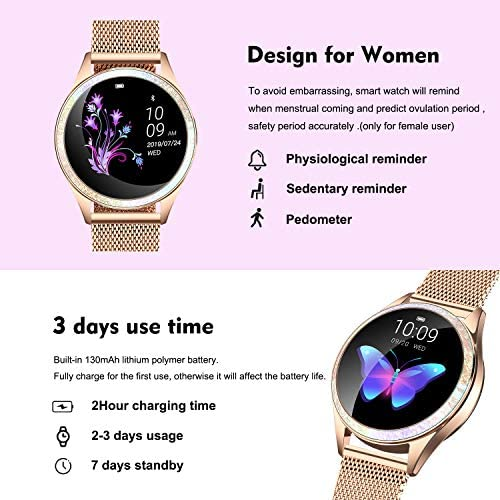 Yocuby Smart Watch for Women,Bluetooth Fitness Tracker Compatible with iOS,Android Phone, Sport Activity Tracker with Sleep/Heart Rate Monitor, Calorie Counter 51N1cl9mGhL