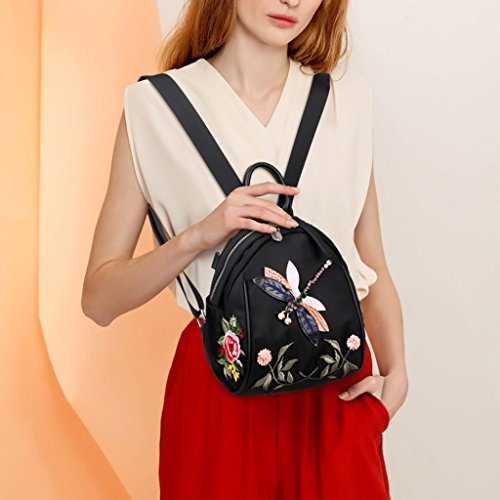 Embroidered With Nylon Dabixx Black Color Dragonfly Design Backpack qTHCgwI
