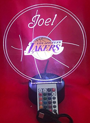 LA Lakers Beautiful Handmade Acrylic Personalized Lakers NBA Basketball Light Up Light Lamp LED, Our Newest Feature - It's WOW, Comes With Remote,16 Color Options, Dimmer, Free Engraved, Great Gift