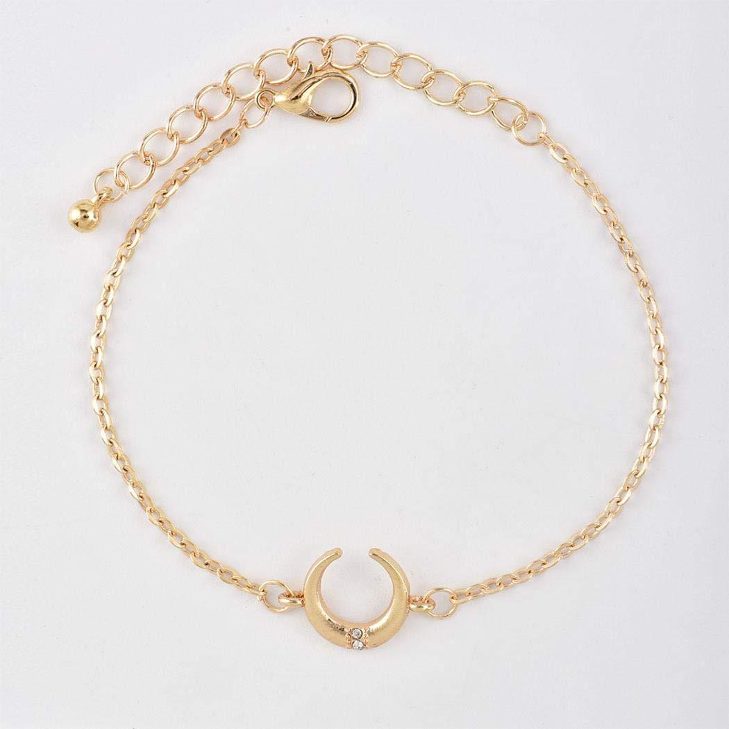 Free Venus 5pcs femmes mode lune feuille ouverte manchette bracelet cha/îne bracelets ensemble Bracelet breloques