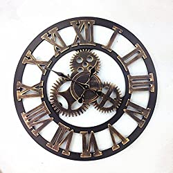 Komo 58cm classic retro mute Stunning Roman metal decorated living room iron large Wall Clock,58cm Rome Gold