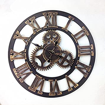 Komo 58cm Classic Retro Mute Stunning Roman Metal Decorated Living Room Iron Large Wall Clock,58cm Rome Gold