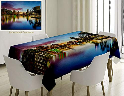 Unique Custom Cotton and Linen Blend Tablecloth Modern Decor Famous USA Urban Downtown View of Orlando Florida EOLA Lake Romantic Scene Blue YellowTablecovers for Rectangle Tables, 86 x 55 -