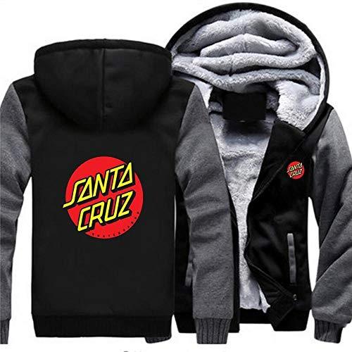 Mens Hoodie Sweatshirt – Santa Cruz Skateboard Print Warm Sweater Jas Zip Honkbal Uniform Lange Mouw Pullover Top – Teen…