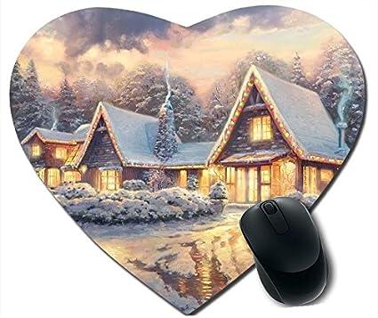 Cyber Monday 2015 feliz año nuevo ratón para videojuegos en forma de corazón Navidad Lodge By Thomas Kinkade antideslizante almohadillas de ratón casarse ...