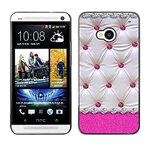 Caucho caso de Shell duro de la cubierta de accesorios de protección BY RAYDREAMMM - HTC One M7 - Pink White Lattice Diamond Pattern