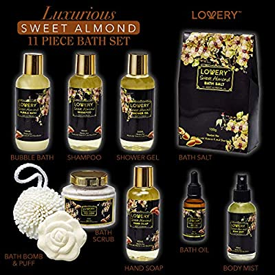Bath and Body Gift Basket For Women and Men – Sweet Almond Home Spa Set with Fragrant Body Lotions, Bath Bombs, Gold Candy Dish and Much More - 11 Piece Set