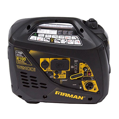 Firman W01781 2100/1700 Watt Recoil Start Gas Portable Generator cETL and CARB Certified, Black