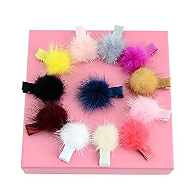 Coobbar 12 Colors 3.5cm Solid Fur Ball Safety Hair Clip Handmade Hair Accessories for Baby Girls Christmas Gift