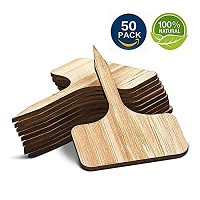 ColorfulLaVie 50 Bamboo Plant Labels in Gift Box (T-Type) - T-Type Wooden Plant Sign for Fruit Trees Seedlings Flowers Greenhouses- Cheese Markers 6 X10 cm: Garden & Outdoor